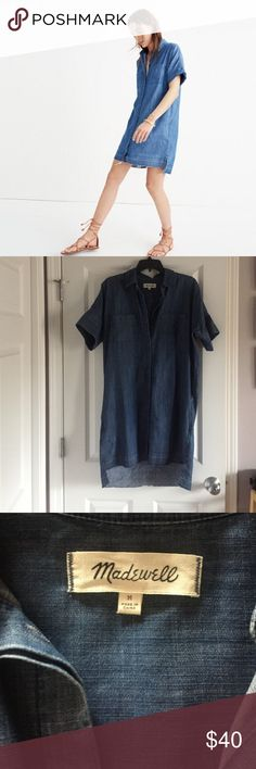 Madewell Denim Drop Hem Dress Soft denim shirt dress with drop hem. Great for hot summer days when you want to stay cool. Looks great with booties or sandals. Worn twice, great condition. Madewell Dresses