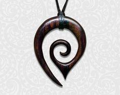 Large Wooden Koru Pendant - $12