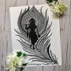 "Rashmi Krishnappa on Instagram: ""Silhouette of Lord Krishna playing his flute . Krishna's flute is the symbol of freedom . He has preached prema, love, through his flute.…"" Doodle Art Drawing, Dark Art Drawings, Zentangle Drawings, Mandala Drawing, Art Drawings Sketches, Mandala Artwork, Drawing Quotes, Zentangle Patterns, Beautiful Drawings"