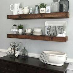 shanty2chic dining room floating shelves by @myneutralnest...