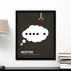 Inception movie poster, minimalist, cinema, Inception, Leonardo DiCaprio, contemporary art by MicrowaveDesigns on Etsy https://www.etsy.com/listing/223462312/inception-movie-poster-minimalist-cinema