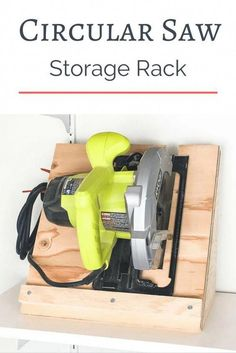 Keep your circular saw stored upright and ready to go! This circular saw storage rack is quick and easy to make with scrap plywood. woodworking project workshop storage garage storage tool storage circular saw ideas scrap wood project Woodworking Skills, Learn Woodworking, Easy Woodworking Projects, Popular Woodworking, Woodworking Furniture, Woodworking Plans, Woodworking Machinery, Woodworking Techniques, Woodworking Articles