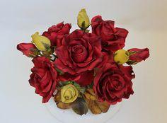 sugar roses bouquet for wedding cake