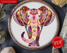 Mandala Elephant Cross Stitch Pattern for Instant Download - 111| Lovely Cross Stitch| Room Decor| Needlecraft Pattern| Easy Cross Stitch