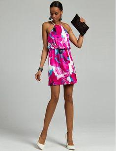 Le Château: Floral Print Knit Halter Dress, $129.95