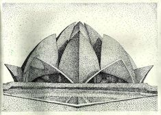 Art Sketches, Art Drawings, Pencil Drawings, Beautiful Pencil Sketches, Temple Drawing, Stippling Drawing, Lotus Temple, City Drawing, City Sketch