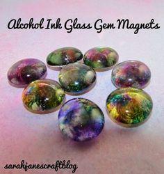 Sarah Jane's Craft Blog: Alcohol Ink Glass Gem Magnets