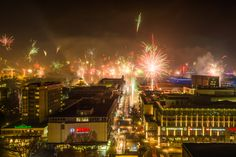 New Year Fireworks - on Jan 1st, 2016 the city of Stuttgart, Southern Germany, welcomes the new year with big fireworks. Long exposure time shot. View from the main station tower.