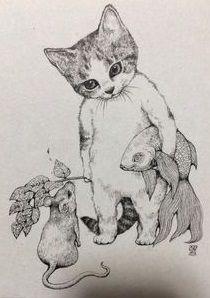 Art Et Illustration, Illustrations, Cat Drawing, Painting & Drawing, Drawing Ideas, Ouvrages D'art, Crazy Cats, Cat Art, Art Inspo