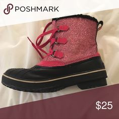 Snow Boots - sparkly pink - adorable! Sparkly pink Sorel Snow boots, fits women's size 8 ;) perfect for a ski trip! Sorel Shoes Winter & Rain Boots