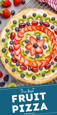 Fruit Pizza is a great easy dessert that is always a crowd pleaser. Made with our simple sugar cookie recipe and favorite cream cheese frosting, this dessert recipe is bound to be a hit. Sugar Cookie Recipe Easy, Easy Sugar Cookies, Sugar Cookie Dough, Cookie Recipes, Fun Desserts, Delicious Desserts, Dessert Recipes, Yummy Food, Frozen Desserts