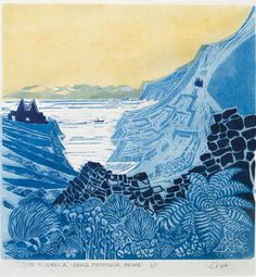 """Gone to America, linocut and watercolor, by John Gosling. (October """"Art NOW"""" exhibit)"""