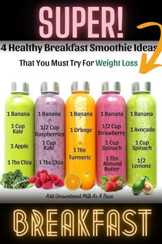 Breakfast Smoothies For Weight Loss, Breakfast Smoothie Recipes, Weight Loss Smoothie Recipes, Healthy Juice Recipes, Healthy Juices, Healthy Smoothies, Healthy Drinks, Fruit Smoothie Recipes, Smoothie Diet