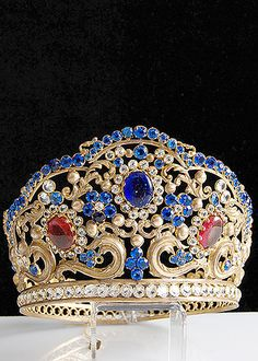 19th Century Gilt Brass Repousse Tiara with Blue, Red, and Clear Facet Cut Glass Jewels