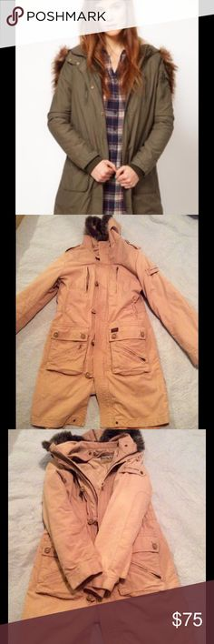 PEPE JEANS LONDON TAN PARKA This coat is in mint condition. Bought in Harrods in London 2 years ago. Removable lining. Amazing design and detail. All is in perfect working order! Zippered hood for additional style. Absolutely beautiful coat. Have only seen others in green. Pepe Jeans Jackets & Coats Trench Coats