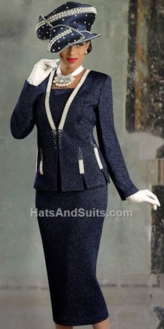 Church Dress Donna Vinci Knits 2916 Womens Navy Blue Church Suit Check out the deal on Donna Vinci Knits 2916 Womens Navy Blue Church Suit at French Novelty Church Dresses For Women, Church Suits And Hats, Women Church Suits, Church Attire, Church Hats, Church Outfits, Suits For Women, Lady, Church Fashion