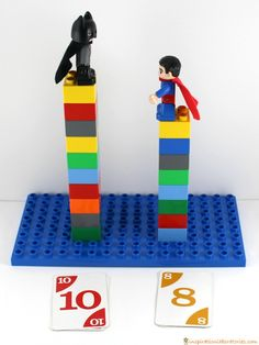 Play a Batman vs Superman Math Game to practice comparing numbers and addition! It's tons of super hero fun.