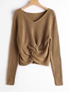 V Neck Twist Chunky Sweater - KHAKI ONE SIZE