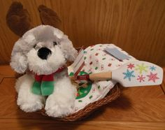 Kitchen goodies, plus a cute stuffed dog make for a great gift basket!