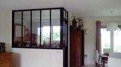 Façade vitrée intérieure & porte en galendage / Réalisation sur mesure Ferronnerie Bouzac / Aussillon France