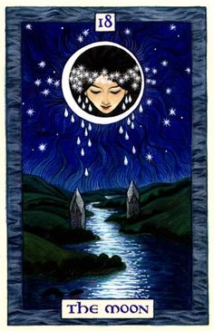The Moon, a Tarot Card by Thalia Took--one of only four cards she designed. Lovely.