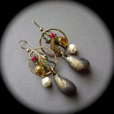 Festival of Rubies and Pearls, ruby earrings, hoop earrings, brass stampings, brass filigree, glass pearls, ScorchedEarth, AnvilArtifacts