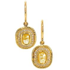 Yellow Center Diamond Drop Earrings with diamond pave surround. Conflict free diamonds, 18 karat recycled gold, made in the US.