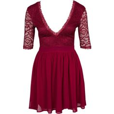Nly One V-Neck Scallop Dress (£16) ❤ liked on Polyvore featuring dresses, short dresses, burgundy, party dresses, womens-fashion, tall dresses, burgundy skater dress, v neck cocktail dress, burgundy dress and low cut dresses
