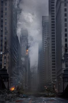 Chicago in ruins, hard work has clearly gone into creating this concept art and would be a great influence for a Zombie outbreak/apocalypse. Apocalypse Aesthetic, Apocalypse Art, Nuclear Apocalypse, Nuclear War, Apocalypse Survival, Cyberpunk, Post Apocalyptic City, Wattpad Background, Travel Photographie