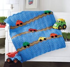 Your little guy will love this fun and colorful cars blanket. Worsted weight yarns