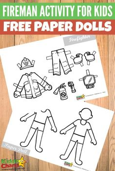 Fireman activity printable for kids Free paper dolls Fireman Kids, Fireman Crafts, Firefighter Crafts, Fireman Party, Fireman Sam, Paper Crafts For Kids, Preschool Crafts, Toddler Crafts, Paper Crafting
