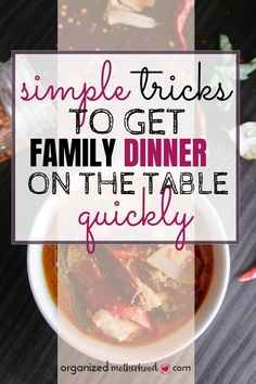 Create simple meals for your family with these easy tips. You can still have delicious dinners, but these ideas for meal planning, the best tools to use, and best places to find recipes will end the dinnertime chaos! #mealplanning #easyrecipes #organizedmotherhood
