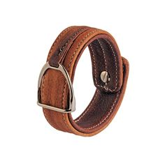 Leather bracelet with stirrup – LIGHT BROWN & DARK BROWN Dark Brown Leather, Equestrian, Belt, Bracelets, How To Wear, Accessories, Jewelry, Fashion, Belts