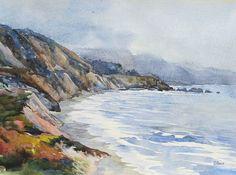 Seascape ORIGINAL Watercolor  Painting Northen CA by OlenaBacasArt, $40.00
