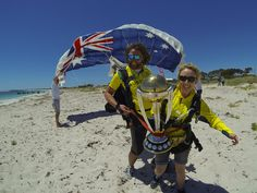 The World Cup trophy lands after a skydive, Jurien Bay, November 11, 2014