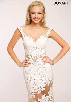 See more detail about Jovani Fitted Lace Prom Dress JP21226..
