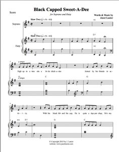 Black Capped Sweet-A-Dee for Voice and Harp Harp, The Voice, Sheet Music, Singing, Songs, Sweet, Black, Black People, Music Score