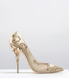Ralph & Russo - Haute Couture Collection SHOES - STYLE 09-EDEN PUMPS-GOLD SATIN WITH LIGHT GOLD LEAVES