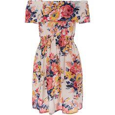 Off The Shoulder Shirred Floral Flare Dress (110 SEK) ❤ liked on Polyvore featuring dresses, pink fit-and-flare dresses, flare dress, pink ruched dress, floral print dress and ruched dress