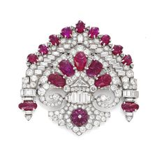 FD GALLERY | Rare & Vintage | A French Art Deco Ruby and Diamond 'Stomacher' Brooch, circa 1930