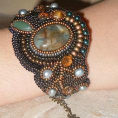 """Bracelet perles brodées """"nature"""" agate moss, aventurine verte, oeil de tigre marron"""