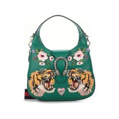 Now $2,928 - Shop this and similar Gucci shoulder bags - Emerald green leather 'Dyonisius' shoulder bag by Gucci with embroidered tiger, hearts and flowers appl...