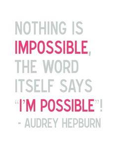 I'm Possible - 8 x 10 Audrey Hepburn Illustrated Quote Print $21.00
