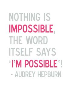 I'm Possible - 8 x 10 Audrey Hepburn Illustrated Quote Print $21.00