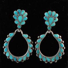Vintage Zuni Inlay Earrings