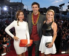 Jamie Lee, Jeff Dye and Jessimae Peluso of MTV's 'Girl Code' photographed on the red carpet at the 2013 MTV Video Music Awards in Brooklyn, New York. | MTV Photo Gallery