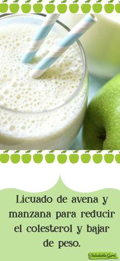 Licuado de avena y manzana para reducir el colesterol y bajar de peso.#saludable #salud #licuado #batido #smoothie #manzana #avena #perderpeso #adelgazar #metabolismo #light #dieta #regimen #grasa #miel #linaza #agua #mañana #desayuno #ayunas