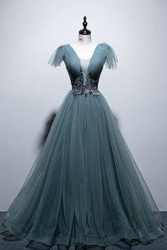 Tulle Open Back Cap Sleeve Long Prom Dress,