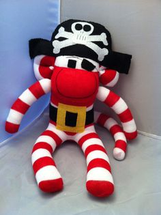 CE marked Pirate Sock Monkey Toy CUSTOM by SockMonkeyEmporiumUK