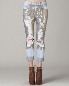 Destroyed Sequin Jeans